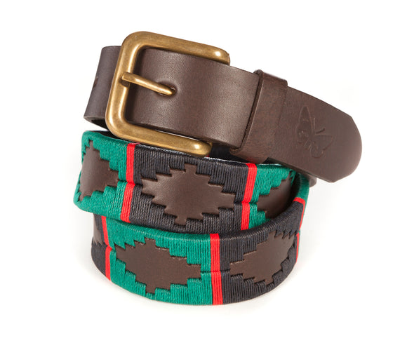 Regent Embroidered Leather Polo Belt- Navy/Green/Red