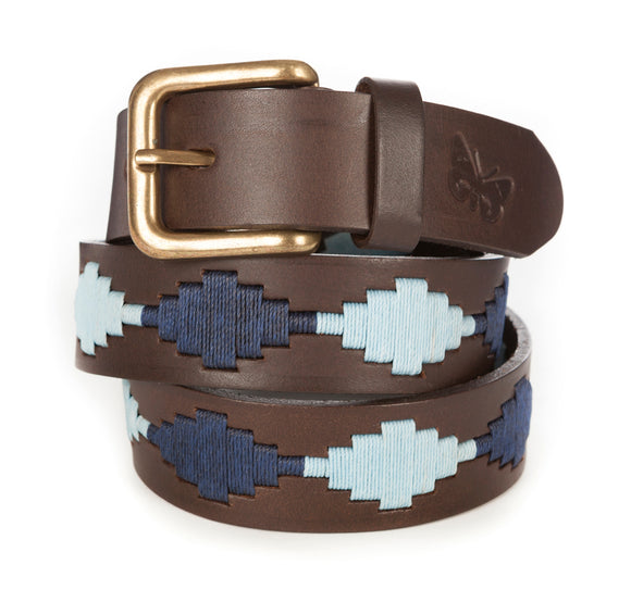 Regent Embroidered Leather Polo Belts - Sky Blue / Navy Diamonds