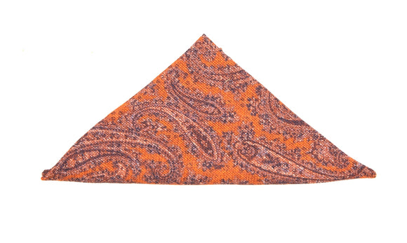 Regent Cotton Pocket Square - Orange Paisley