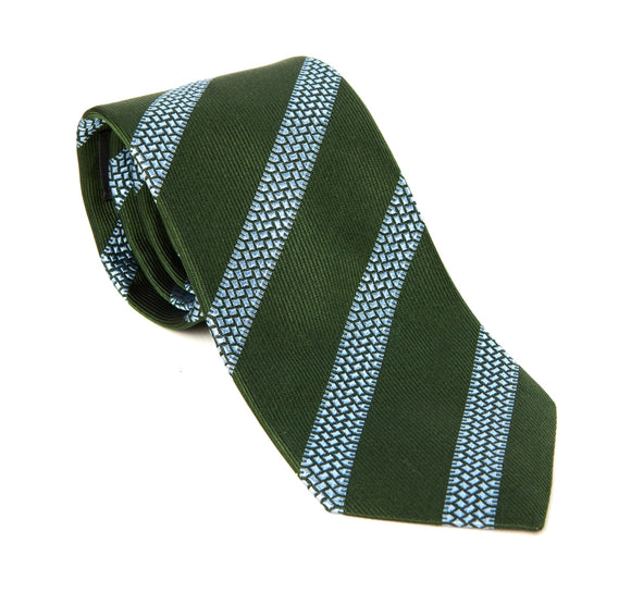 Regent Woven Silk Tie - Lawn Green with Motorbike Tread