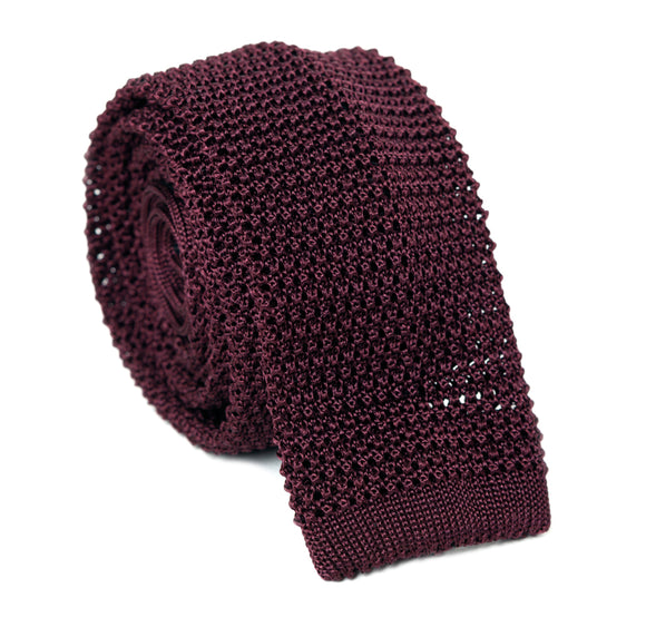 Regent Knitted Silk Tie - Burgundy