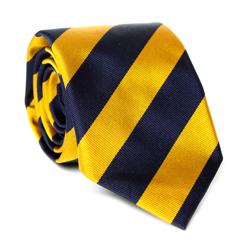 Regent Woven Silk Striped Tie - Yellow and Navy Blue Stripes