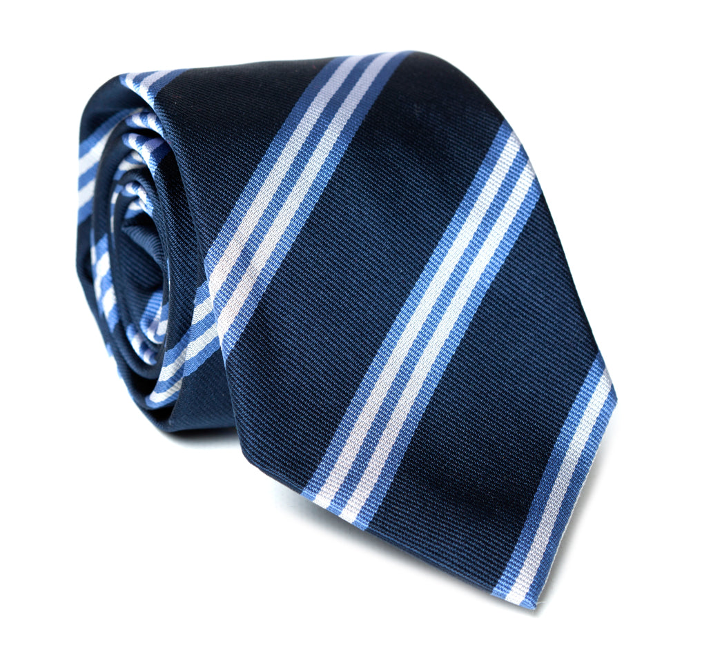 Regent - Woven Silk Striped Tie - Navy with Blue and White Stripes - Regent Tailoring