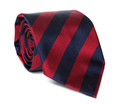 Regent - Woven Silk Striped Tie - Burgundy and Navy Stripes