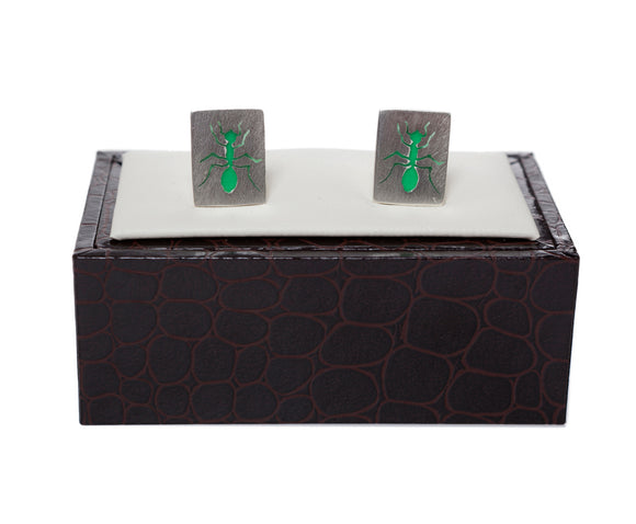 Regent Sterling Silver Cufflinks - Green Ants