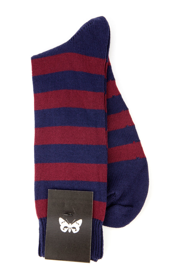 Regent Cotton Sock in Navy and Burgundy Stripe
