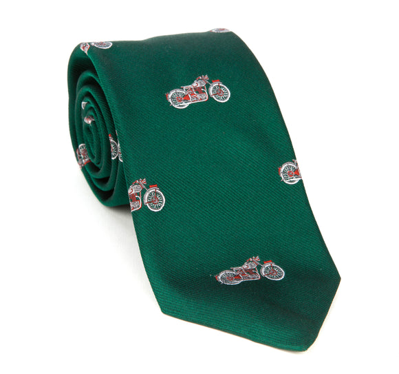 Regent Woven Silk Tie - Green with Red Motorcycles