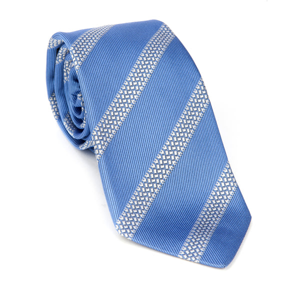 Regent Woven Silk Tie - Sky Blue with Tyre Track Stripe