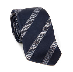Regent - Woven Silk Tie - Navy with Tyre Track Stripe