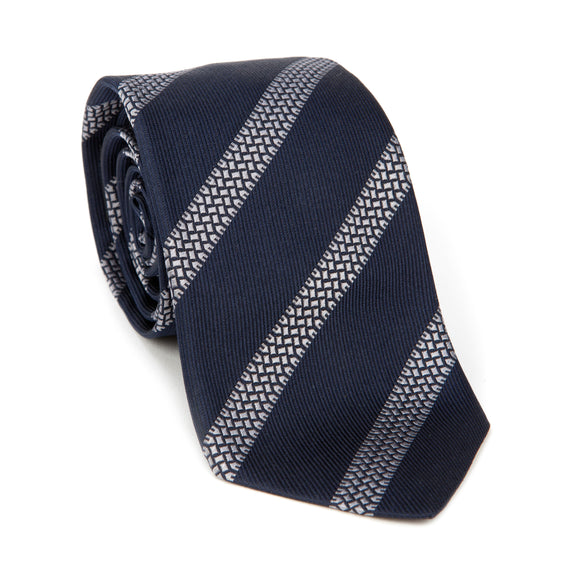 Regent Woven Silk Tie - Navy with Tyre Track Stripe