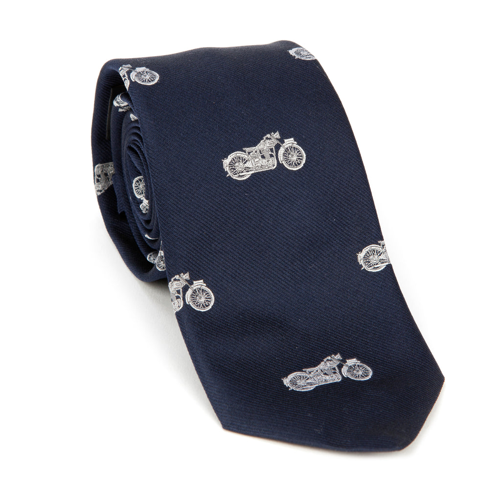 Regent - Woven Silk Tie - Navy with Motorcycles - Regent Tailoring