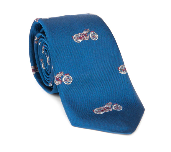 Regent Woven Silk Tie - Blue with Motorcycles - Regent Tailoring