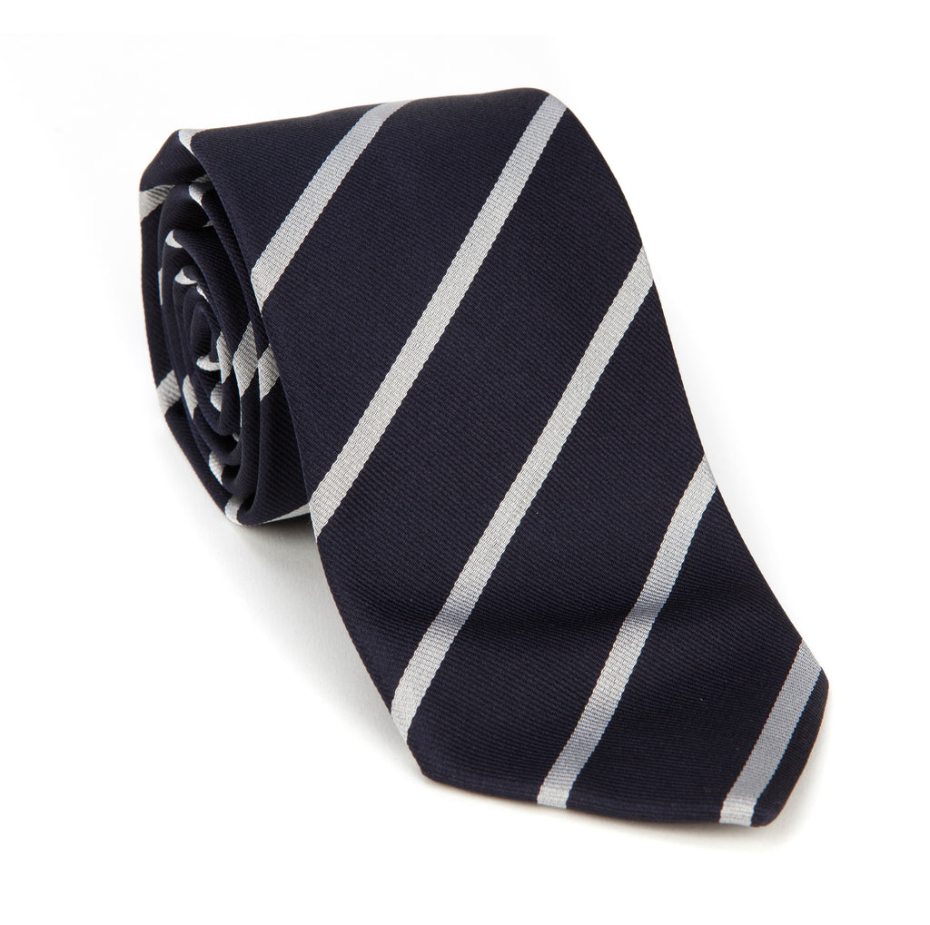 Regent - Woven Silk Striped Tie - Navy and Silver - Regent Tailoring