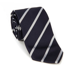 Regent - Woven Silk Striped Tie - Navy and Silver