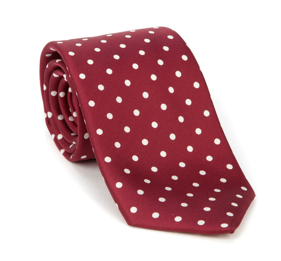 Regent Woven Silk Tie - Red with Polka-Dot