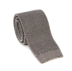 Regent - Knitted Silk Tie - Two Tone - White - Plain