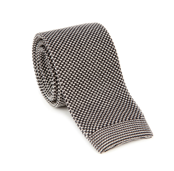 Regent Knitted Silk Tie - Two Tone White