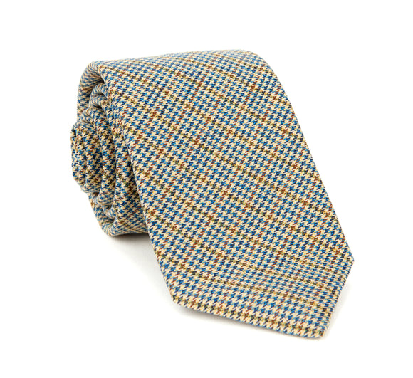 Regent Woven Wool Tie - Blue, Green & Brown Dogstooth
