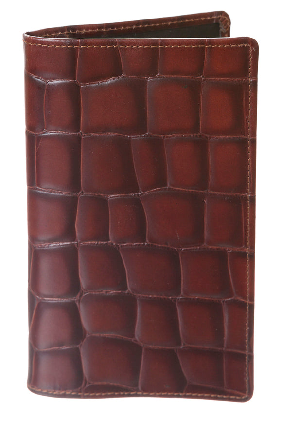 Regent Tall Leather Wallet - Moc Croc