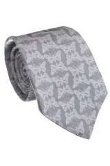 Regent - Woven Silk Tie - Light Grey Butterflies