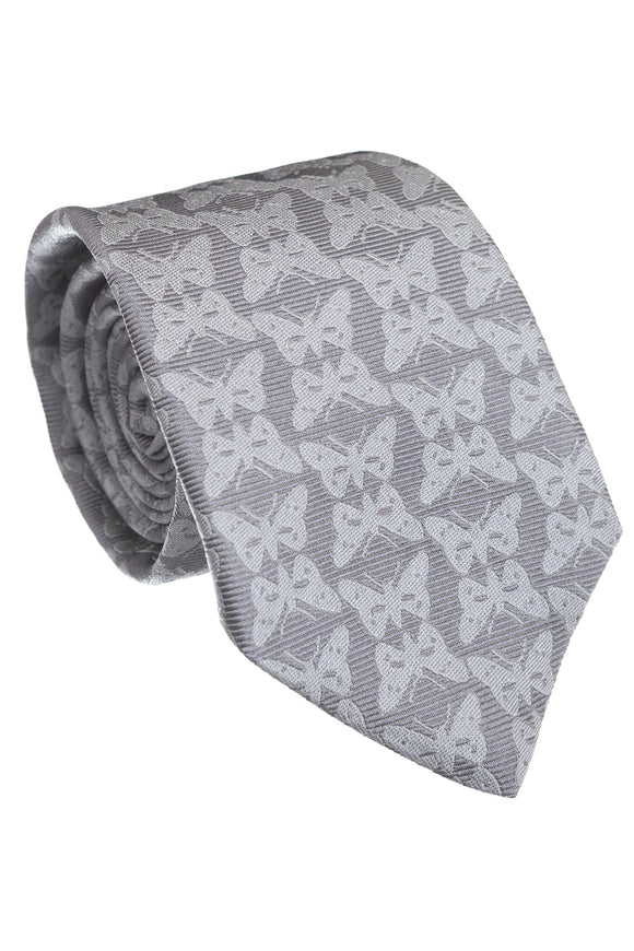 Regent Woven Silk Tie - Light Grey Butterflies