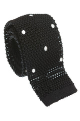 Regent - Knitted Silk Tie - Black with White - Spots