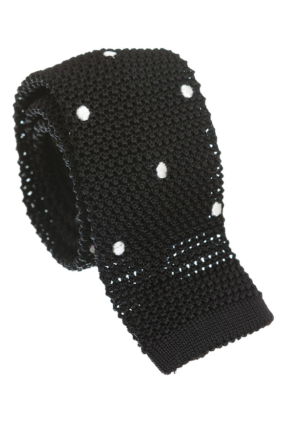 Regent Knitted Silk Tie - Black with White Spots