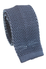 Regent - Knitted Silk Tie - Grey - Plain
