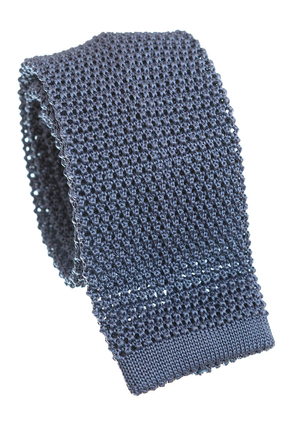 Regent Knitted Silk Tie - Grey