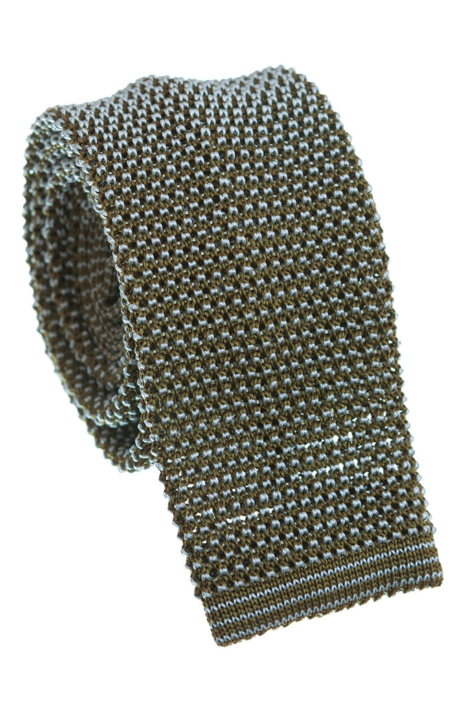 Regent - Knitted Silk Tie - Two Tone - Green - Plain - Regent Tailoring