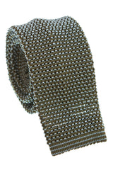 Regent - Knitted Silk Tie - Two Tone - Green - Plain