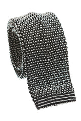 Regent - Knitted Silk Tie - Two Tone Black - Plain