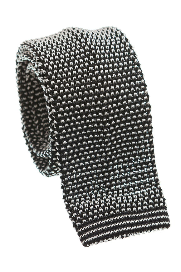 Regent Knitted Silk Tie - Two Tone Black