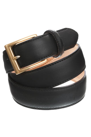 Smart Black Leather Suit Belt with Silver Buckle