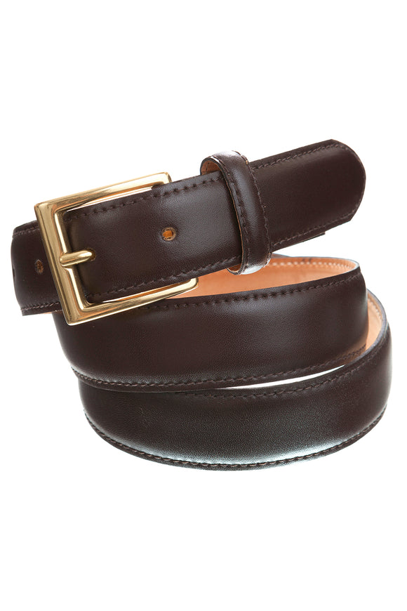Smart Suit Belt in Brown Leather with Gold Buckle - Regent Tailoring