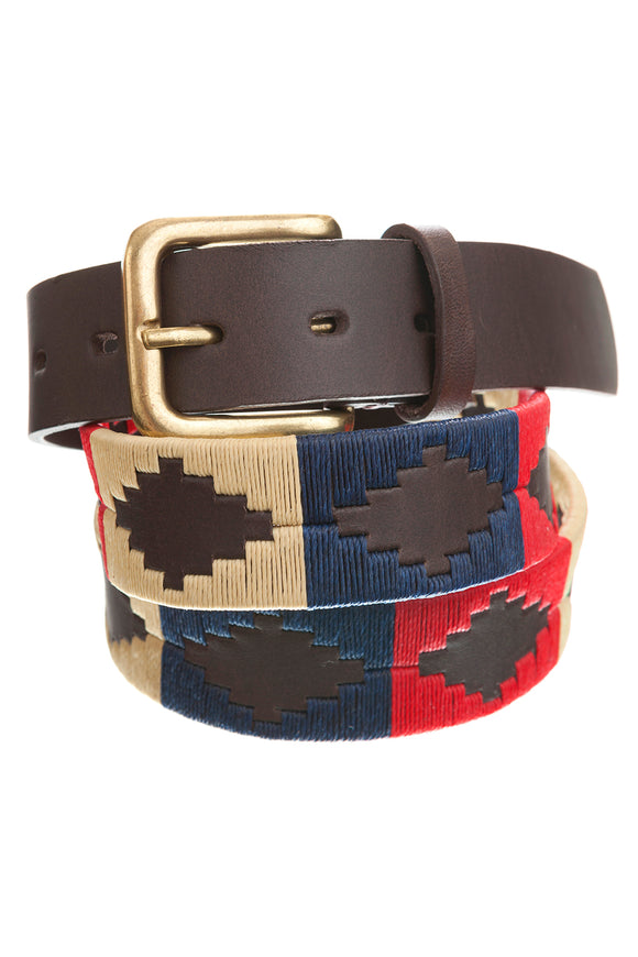 Regent Embroidered Leather Polo Belts - Red/Navy/White