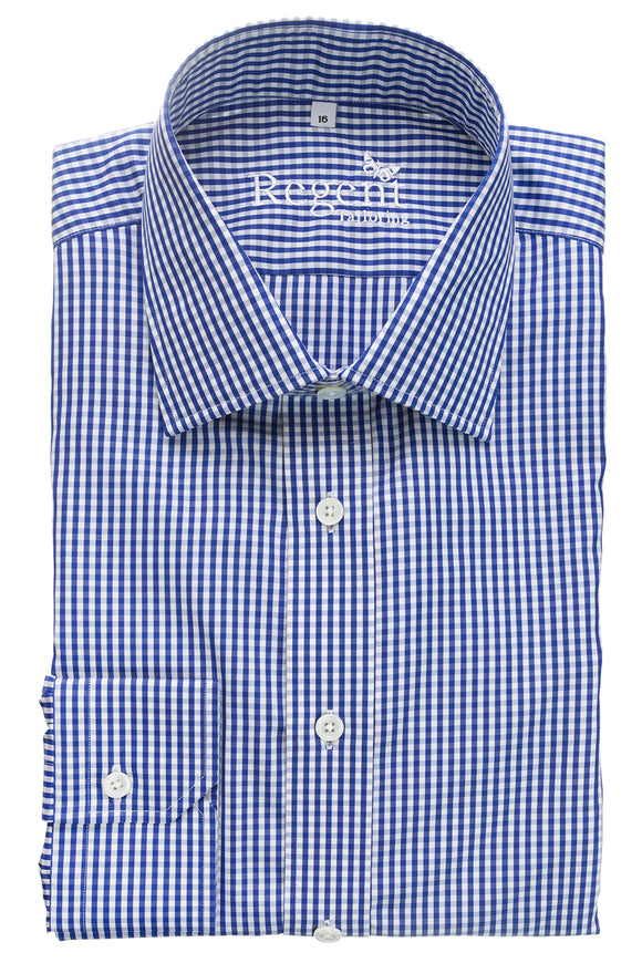 Regent Slim Cut Shirt - Navy Gingham Check - Regent Tailoring