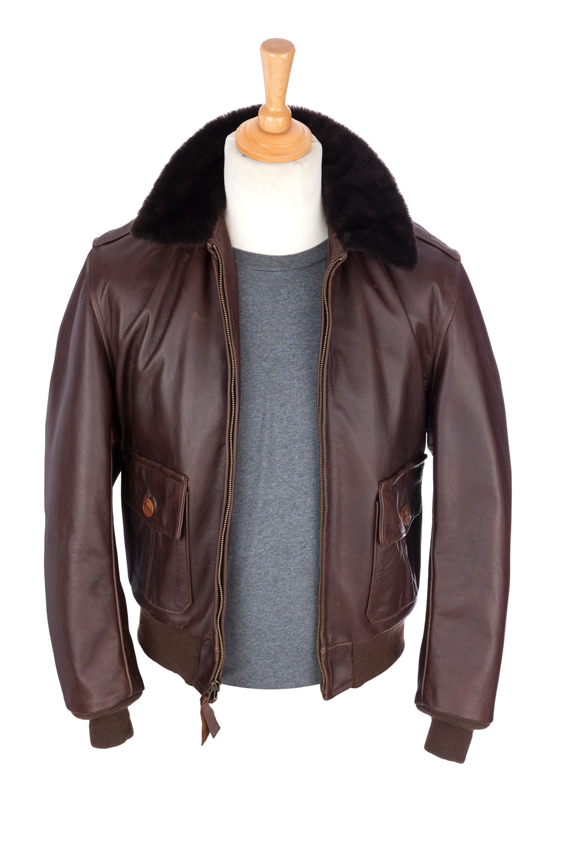 Regent and Aero Leather - A2 Bomber Jacket - Brown Steerhide - Regent Tailoring