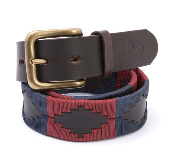 Regent - Polo Belt - Embroidered - Leather - Burgundy and Navy