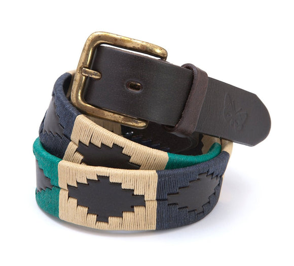 Regent - Polo Belt - Embroidered - Leather - Green, Navy & Cream