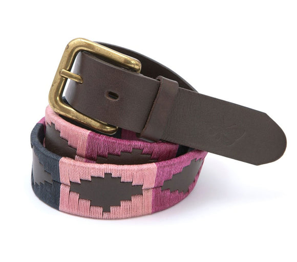 Regent - Polo Belt - Embroidered - Leather - Pink, Raspberry & Navy - Regent Tailoring