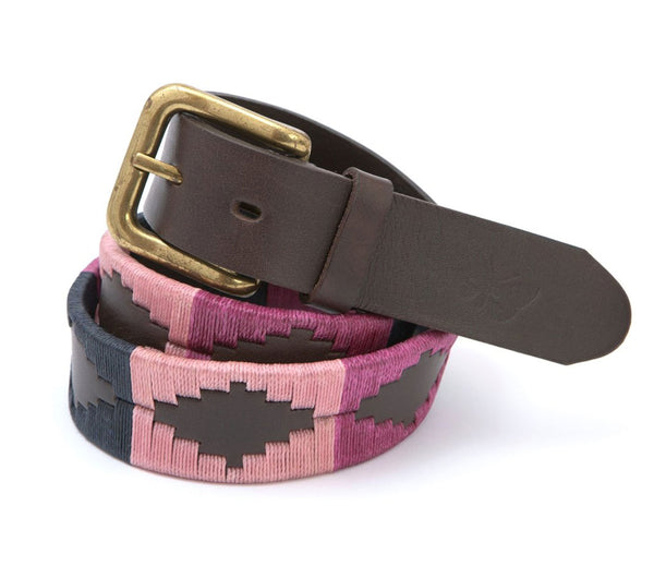 Regent - Polo Belt - Embroidered - Leather - Pink, Raspberry & Navy