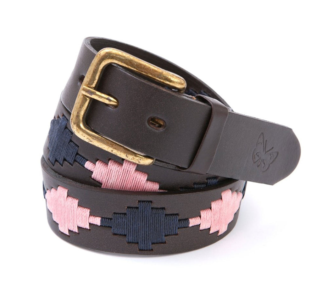Regent - Polo Belt - Embroidered - Leather - Pink and Navy - Regent Tailoring