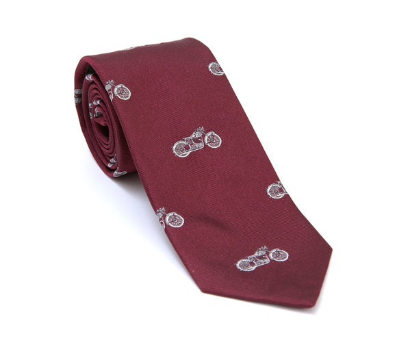 Regent Woven Silk Tie - Burgundy with White Motorcycles - Regent Tailoring