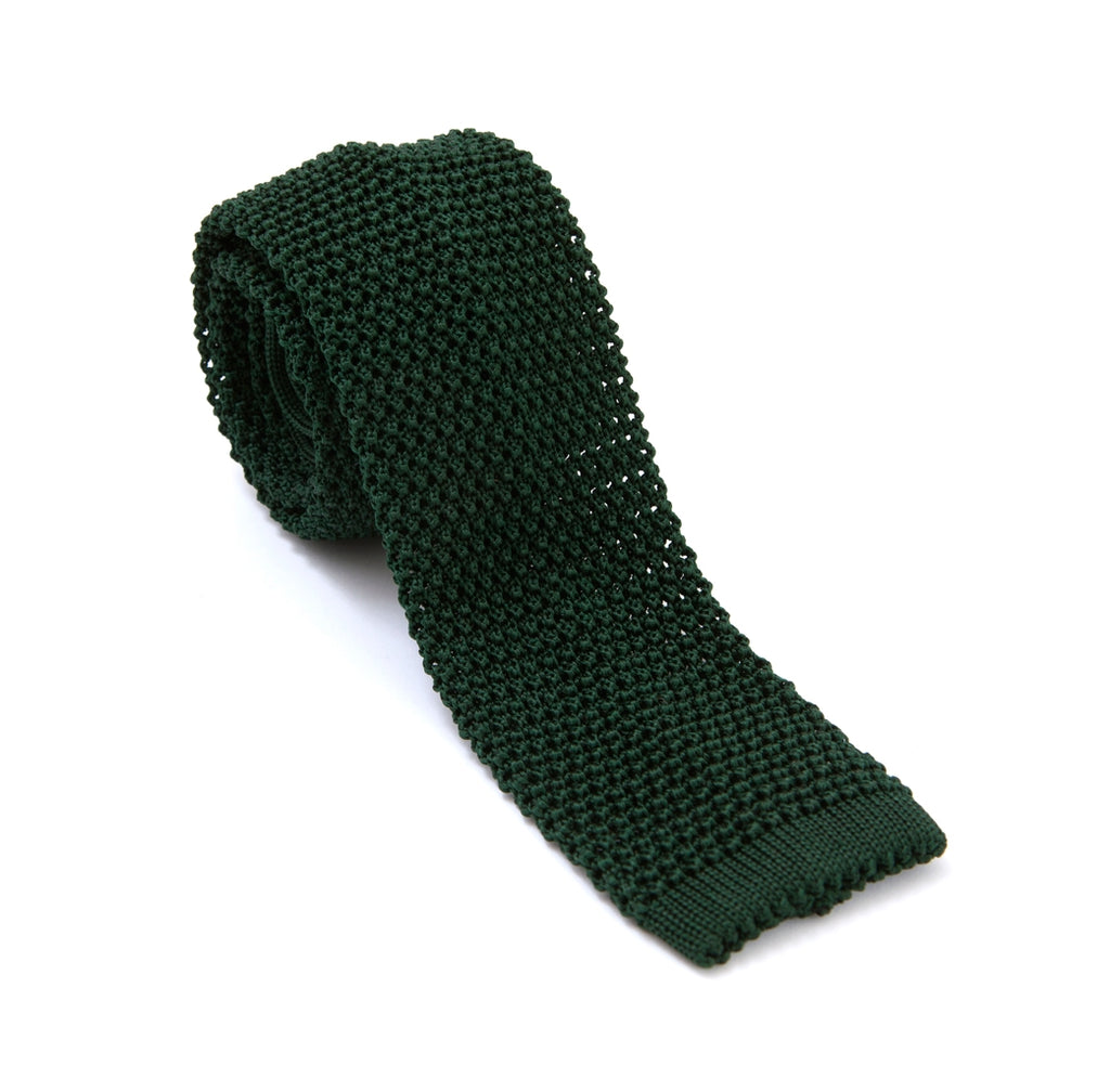 Regent - Knitted Silk Tie - Bottle Green - Plain - Regent Tailoring