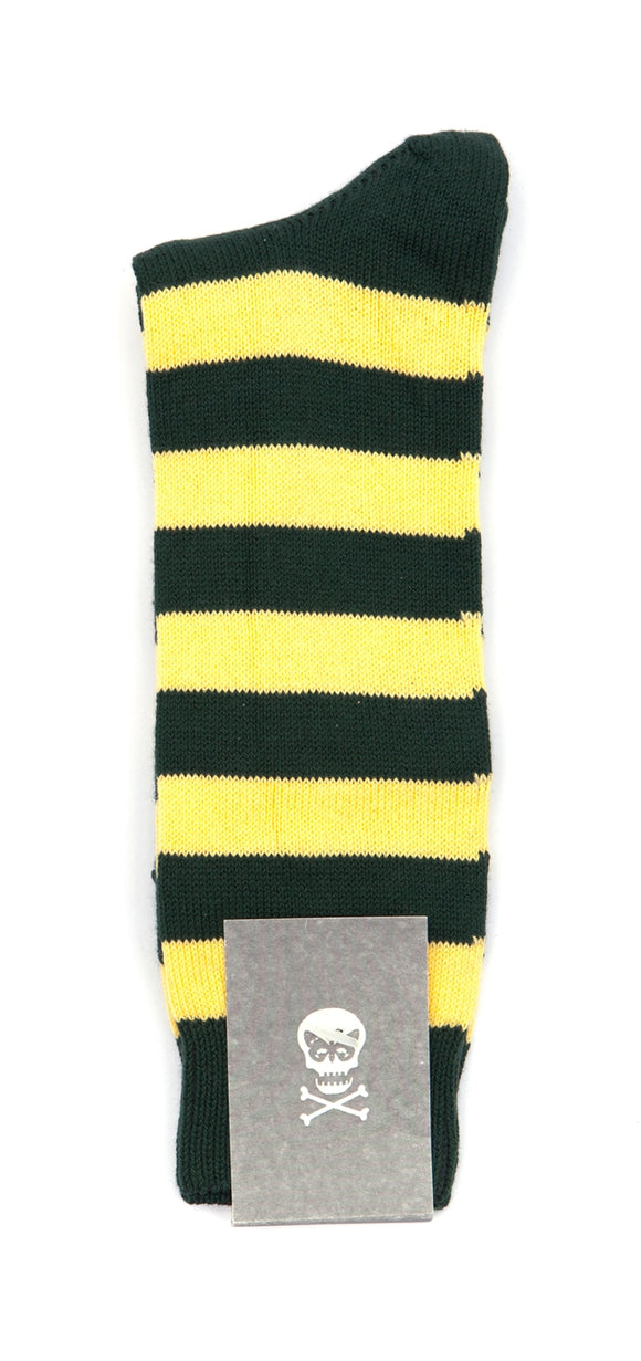 Regent Cotton Socks- Green and Yellow Stripe - Regent Tailoring