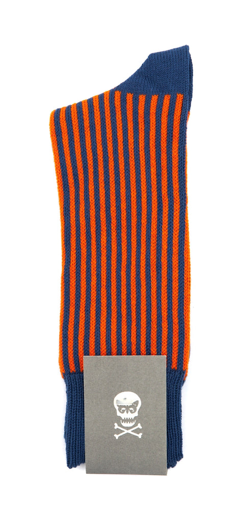 Regent Cotton Socks- Blue and Orange Stripe - Regent Tailoring