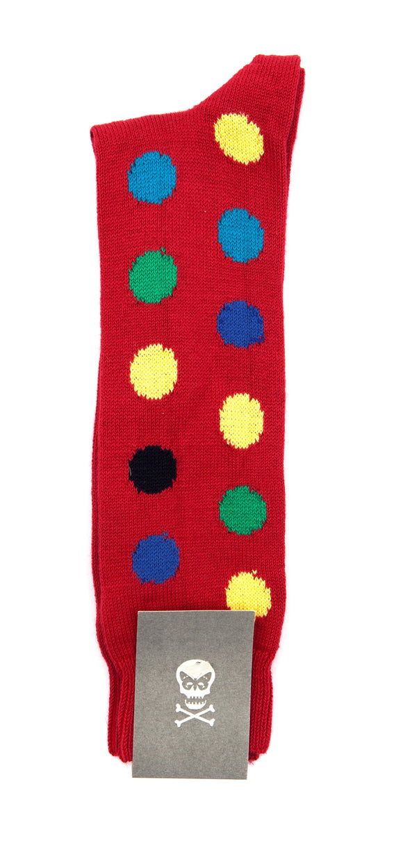 Regent cotton sock- red with multicolour spot