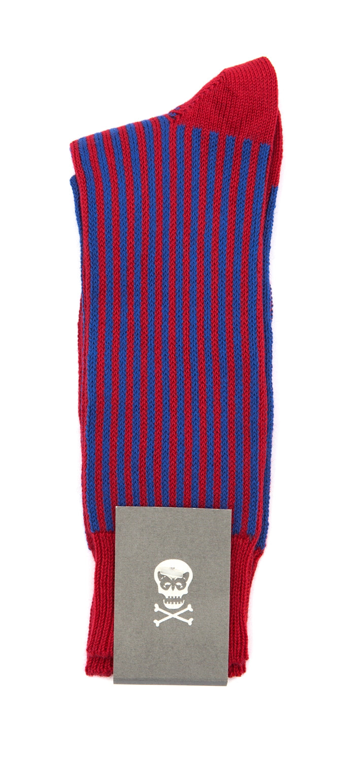 Regent Socks - Cotton - Red and Electric Navy Vertical Stripe