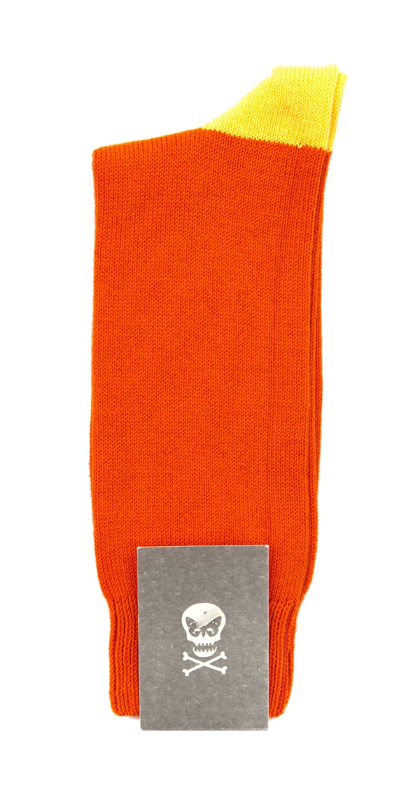 Regent cotton socks- orange with yellow heel and toe